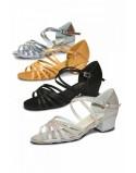 Klasické páskové taneční boty Bella stříbrné holografické