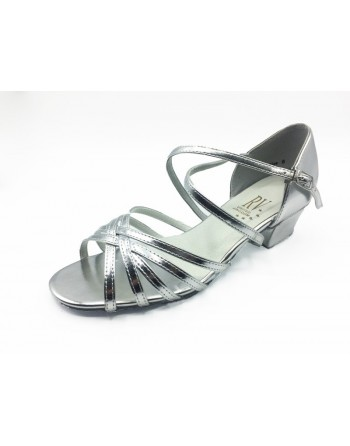 Klasické páskové taneční boty Bella stříbrné lesklé