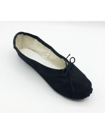 Taneční piškoty s podrážkou vcelku - látkové, černé