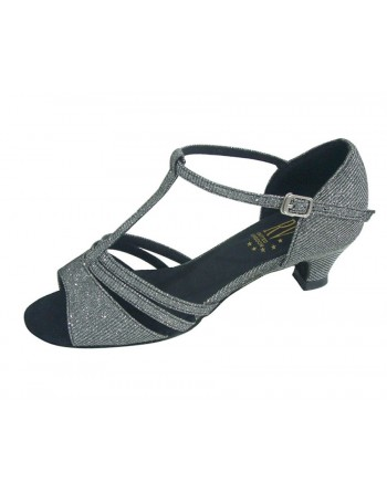 Černo-stříbrné třpytivé taneční boty Evie