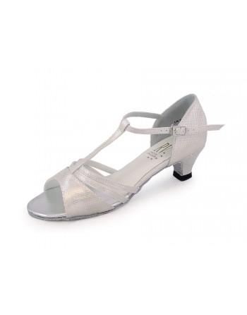 Taneční boty Evie bílo-stříbrné holografické abdaef1001
