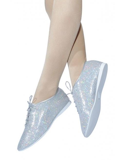 Taneční boty na jazz holografické stříbrné s mikro-podrážkou