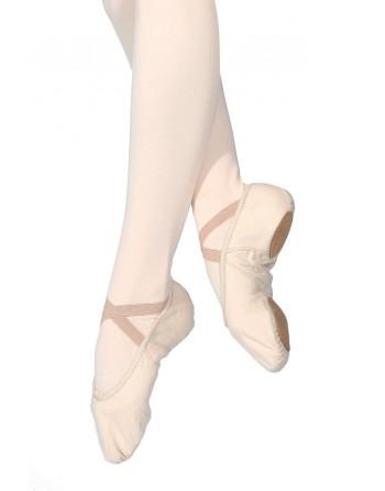 Taneční piškoty látkové s rozdělenou podrážkou, tělové růžové