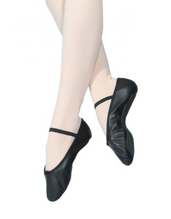 Taneční piškoty s podrážkou vcelku, pro širší nohu - kožené