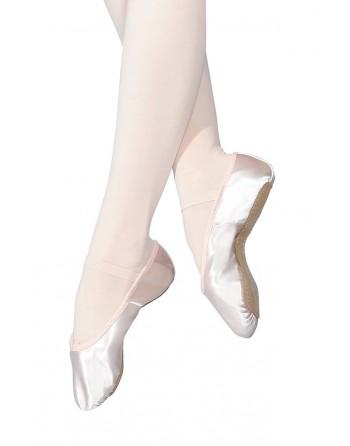 Taneční piškoty s podrážkou vcelku - saténové, pro širší nohu