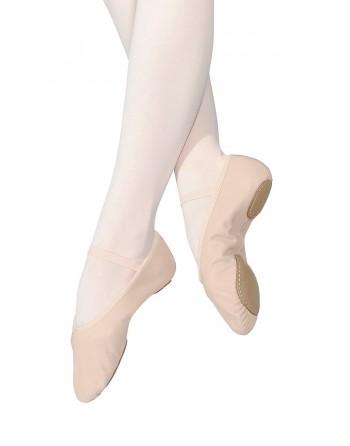 Taneční piškoty s rozdělenou podrážkou, pro širší nohu - kožené, dámské