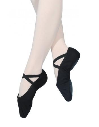 Taneční piškoty s podrážkou vcelku, pro širší nohu - látkové