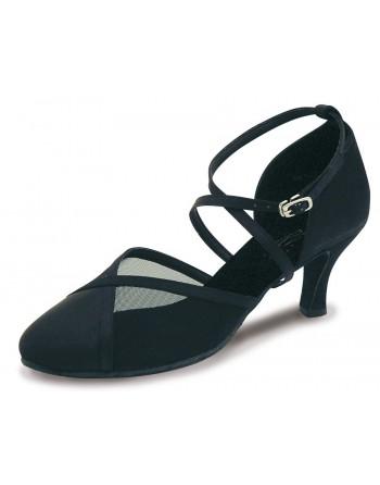 Saténové uzavřené taneční boty Bona černé